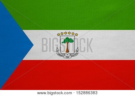 Equatorial Guinean national official flag. African patriotic symbol banner element background. Correct colors. Flag of Equatorial Guinea real detailed fabric texture accurate size illustration