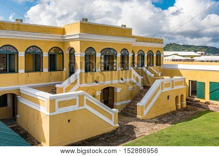 Interior courtyard of Fort Christiansted in St. Croix Virgin Islands