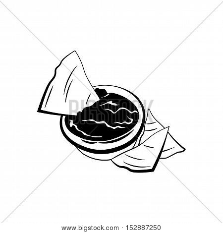 Nachos with Salsa Sauce. Mexico Snack. Traditional Mexican Cuisine. An Isolated Object. Vector Illustration