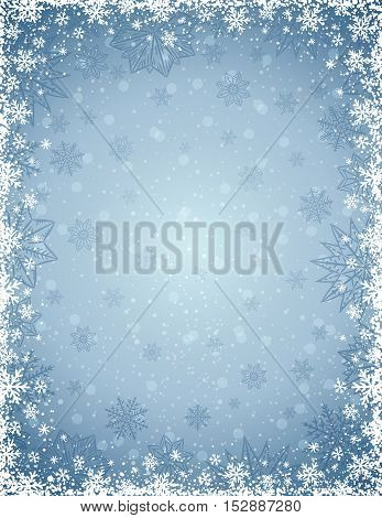 Grey christmas background with frame of snowflakes and stars vector illustration