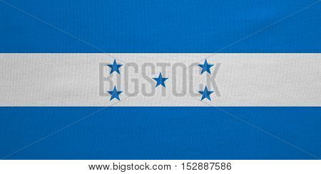 Honduran national official flag. Republic of Honduras patriotic symbol banner element background. Correct colors. Flag of Honduras with real detailed fabric texture accurate size illustration