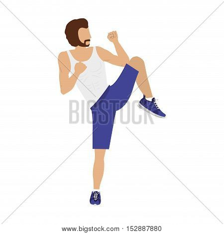 silhouette color man martial arts kick half-height vector illustration