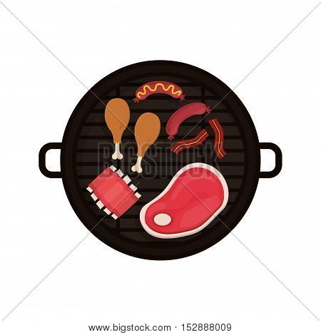 food grilled chicken meat sausage rib vector illustration