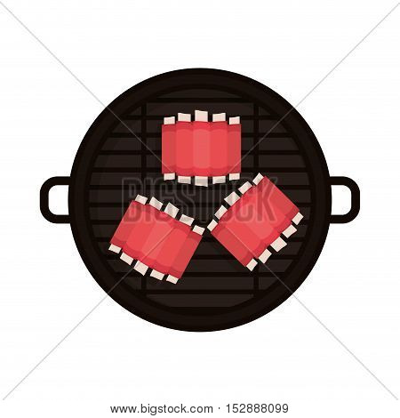 food grilled with big rib vector illustration