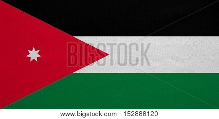 Jordan national official flag. Patriotic symbol banner element background. Correct colors. Flag of Jordan with real detailed fabric texture accurate size illustration