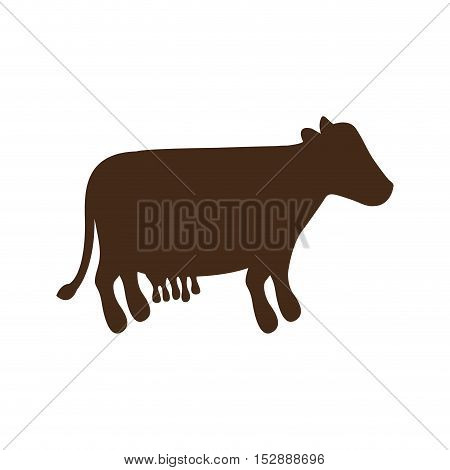 silhouette brown color with milch cow vector illustration
