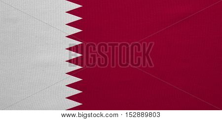 Qatari national official flag. Patriotic symbol banner element background. Correct colors. Flag of Qatar with real detailed fabric texture accurate size illustration