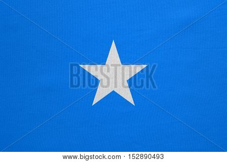 Somali national official flag. African patriotic symbol banner element background. Correct colors. Flag of Somalia with real detailed fabric texture accurate size illustration