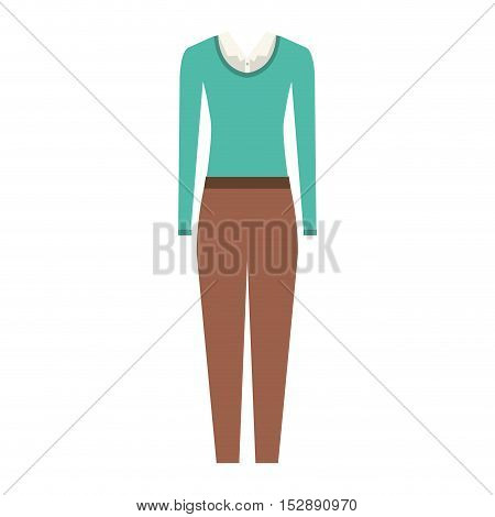 brown pants and white blouse with blue sweater . executive women clothes design. vector illustration
