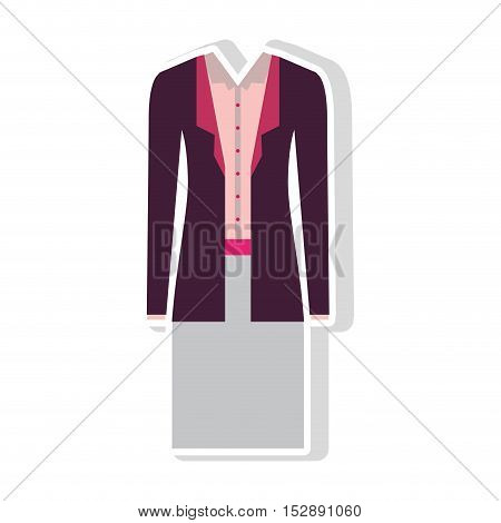 gray skirt and pink blouse with purple jacket. executive women clothes design. vector illustration