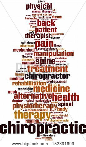 Chiropractic word cloud concept. Vector illustration on white