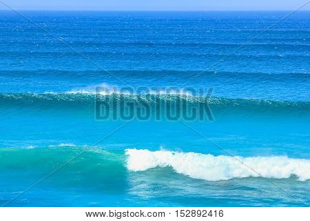 Waves in Atlantic coast, Cape Peninsula. High and powerfull waves in Scarborough, South Africa. Nature background.