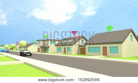 Row of low poly houses in a street with wifi symbols on the roof in red for insecure and green for protected networks cybersecurity concept 3D illustration