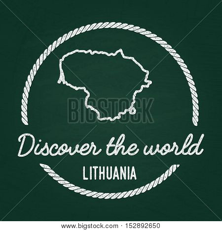 White Chalk Texture Hipster Insignia With Republic Of Lithuania Map On A Green Blackboard. Grunge Ru