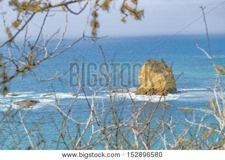 Big Rock In The Middle Of Sea Puerto Lopez Ecuador