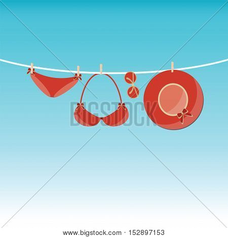 Fashion red swimsuit bikini sunglasses summer hat on rope. Summer bikini and accessories stylish beach set. Beach bikini summer outfit. Trendy bikini on beach. Ocean sea vacation flat design vector illustration.