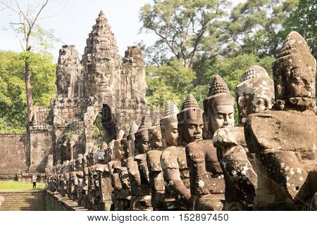 Deva or deity row at entrance of Angkor Thom,Siem Seap, Cambodia.