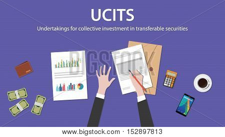ucit undertakings for collective investment in transferable securities concept with businessman work on paper document with graph chart money and wallet vector poster
