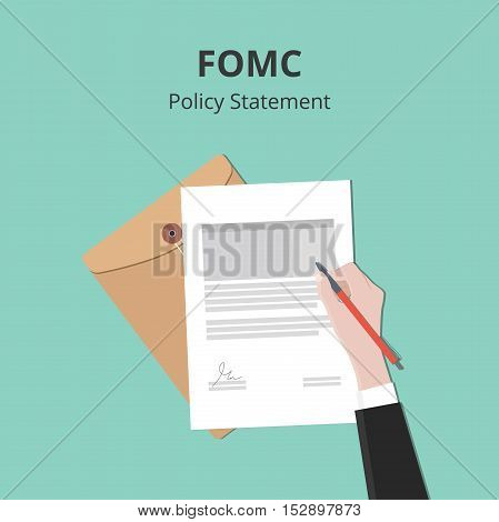 fomc illustration with business man signing a paper document on flat style vector