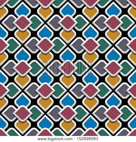 3d colored seamless pattern in arabic style.Vector background