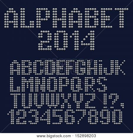 3d dotted font numbers and punctuation marks. Vector set