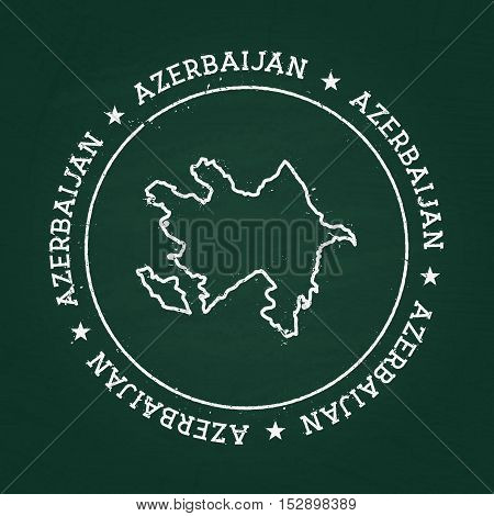 White chalk texture rubber seal with Republic of Azerbaijan map on a green blackboard. Grunge rubber seal with country outlines vector illustration. poster
