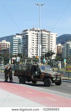 RIO DE JANEIRO, BRAZIL - AUGUST 7, 2016: Brazilian army forces provide security during Rio 2016 Olympic Games near Olympic Park in Rio de Janeiro