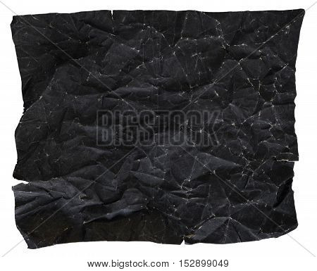 Black Paper Texture, Crumpled Paper Texture, isolated on white background