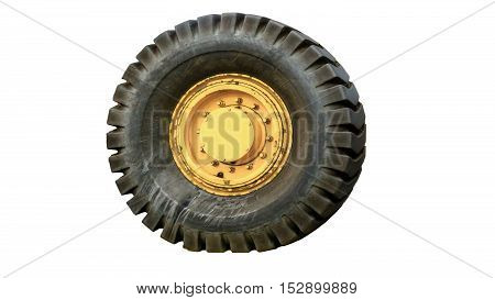 The tractor tires on white background isolated.
