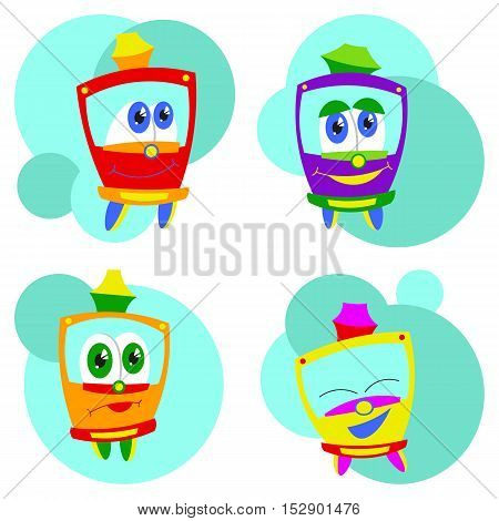 Bright colored set with funny kids trams. Vector illustration on white background. Kids style.