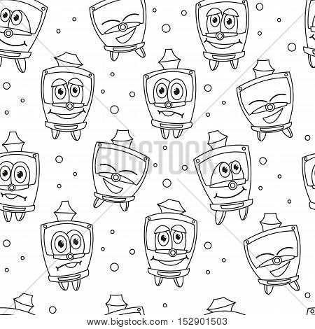 Seamless pattern with funny kids trams. Vector illustration on white background. Kids style.
