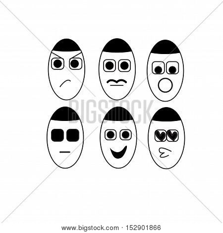 icon people six vector on white background