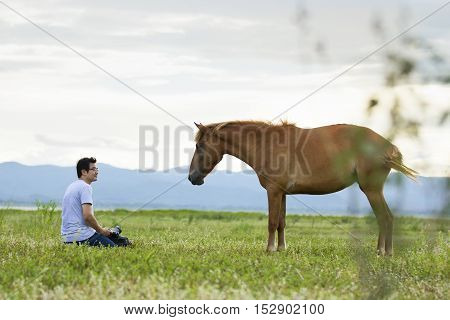 friendship cameraman and horse in the pasture