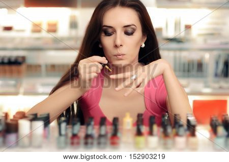 Woman Applying Nail Polish Doing her Manicure