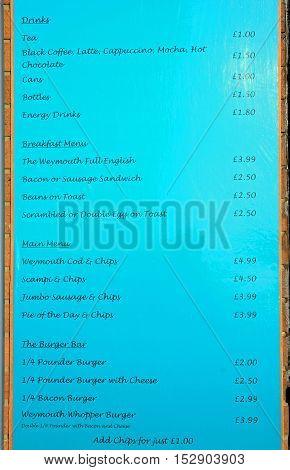 WEYMOUTH, UNITED KINGDOM - JULY 19, 2016 - Cafe menu sign showing choice and prices Weymouth Dorset England UK Western Europe, July 19, 2016.