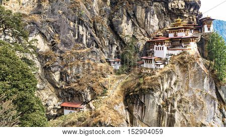 Taktshang Goemba or Tiger's nest Temple or Tiger's nest monastery the most beautiful buddhist temple in the world. The most sacred place in Bhutan is located on the high cliff mountain with sky and cloud of Paro valley Bhutan.