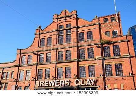 WEYMOUTH, UNITED KINGDOM - JULY 19, 2016 - View of the Brewers Quay building in Hope Square in the old harbour area (formerly the Devonish brewery) Weymouth Dorset England UK Western Europe, July 19, 2016.