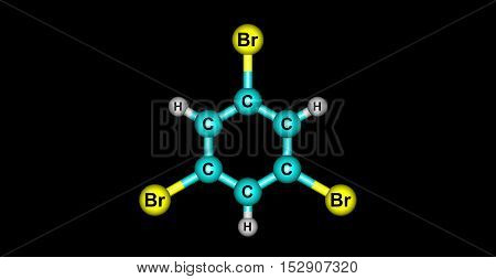 135-Tribromobenzene is used as an intermediate for active pharmaceutical ingredient manufacturing. 3d illustration