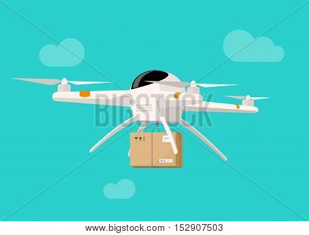 Drone delivery box vector illustration, flat cartoon drone flying in the sky shipping parcel box, concept of service banner, air cargo product delivery