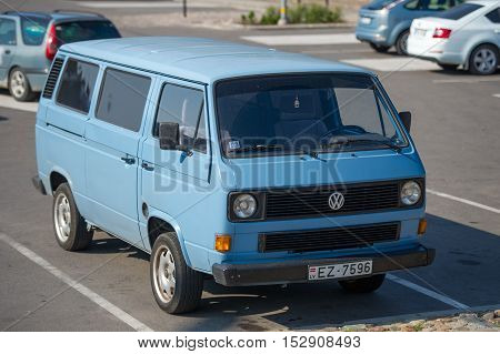 LIEPAJA, LATVIA - SEPTEMBER 10, 2016: VW Transporter T3. The Volkswagen Transporter (T3) is a van produced by the German manufacturer Volkswagen Commercial Vehicles.