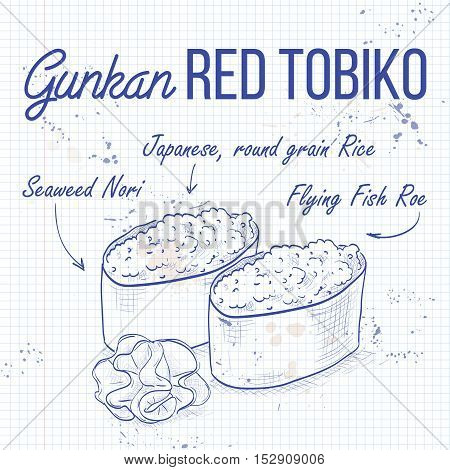 Vector sushi sketch, Gunkan red Tobiko on a notebook page