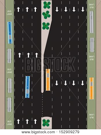 Layout of Highway road and bus lane Landscape Vector Illustration