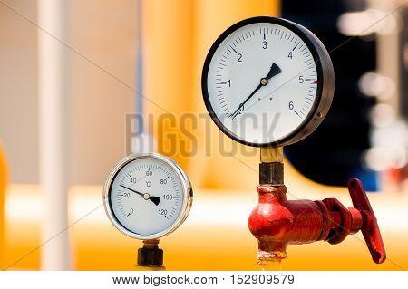 Pressure Meter On Natural Gas Pipeline