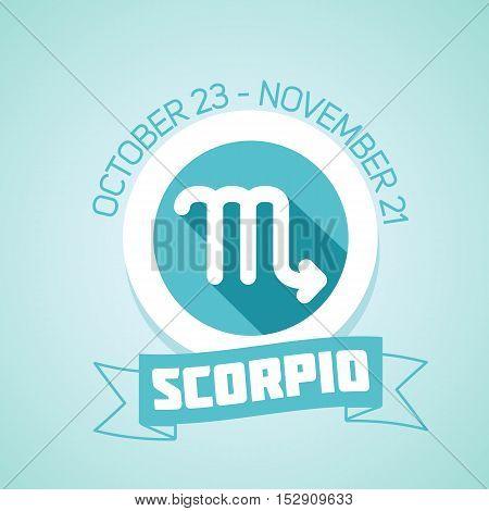 Scorpio zodiac sign in circular frame vector Illustration. Contour icon.