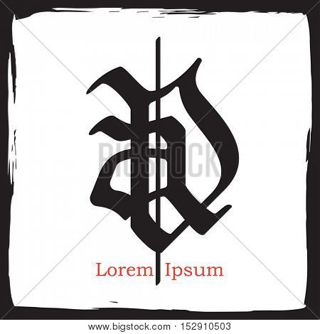 Gothic monogram emblem Logo from A and D gothic letters