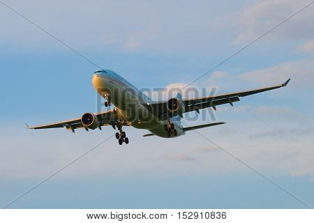 SAINT PETERSBURG, RUSSIA - JULY 03, 2016: Airbus A330-323 (HL7584) Korean Air Lines before landing in Pulkovo airport