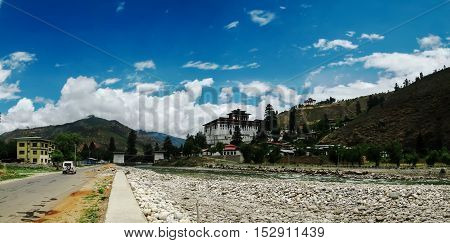 Landscape with Rinpung Dzong in Paro Bhutan
