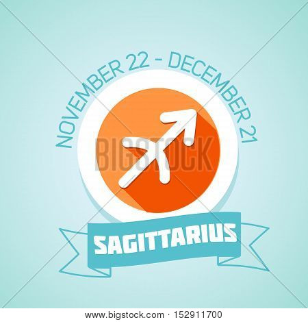 Sagittarius zodiac sign in circular frame vector Illustration. Contour icon.