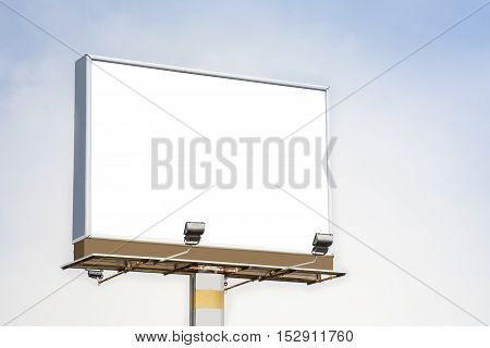Blank billboard. Blank poster for outdoor advertising. Blank billboard on highway. Big blank billboard for advertisement.