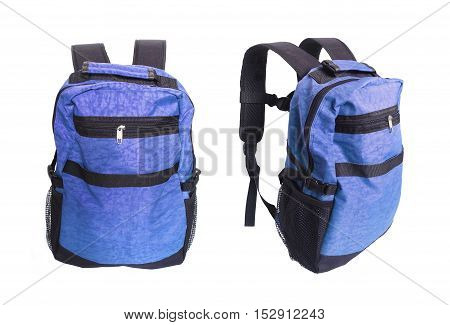 Blue backpack standing isolated on white background